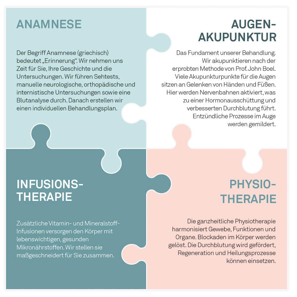 Die vier Elemente der Integrierten Augentherapie nach Noll